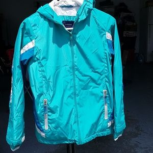 Gently used girls lined jacket mint/turquoise